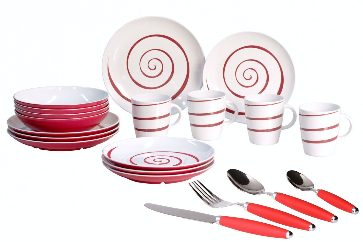 Gimex Twist Red Tableware Set with Cutlery