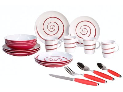 Gimex Tableware Twist Red with Cutlery