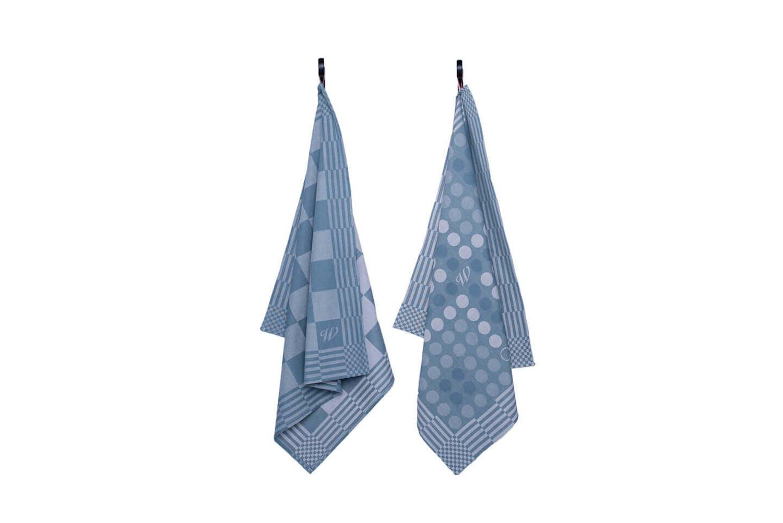 Weltevree Geschirrhandtuch - stahlblau - mit Spielbrettmustern